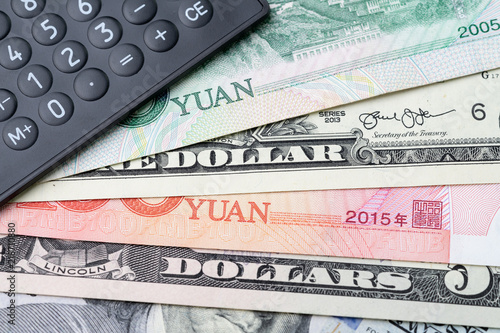 US and China finance currency exchange, trade war, import