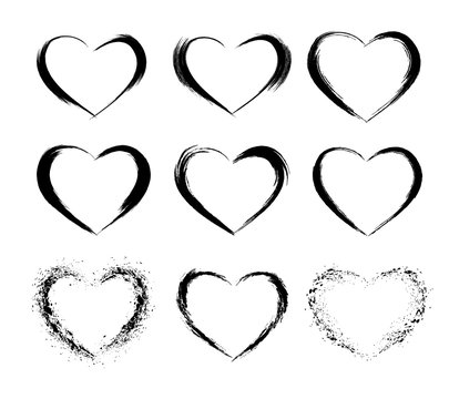 Heart shape frames collection. Makeup mascara brush stroke decorations. Hand drawn abstract design elements.