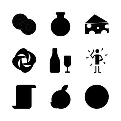 drink vector icons set. orange, potion, cheese and wine in this set