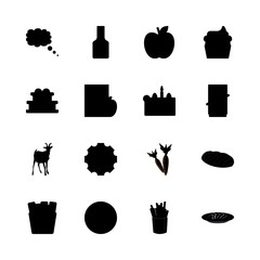 food vector icons set. bread, wedding cake, chocolate and sushi in this set