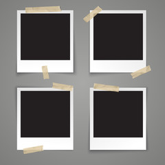 Realistic vector illustration photo frame template with transparent adhesive tape on grey background