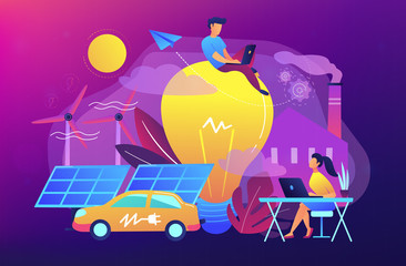 People around huge lamp analyzing power data. Renewable energy, power saving, smart grid energy, system modelling, IoT and smart city concept. Vector illustration on ultraviolet background.