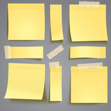 Yellow post it note with adhesive tape isolated on grey background verctor illustration