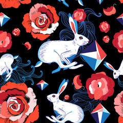 Seamless bright pattern of jumping hares