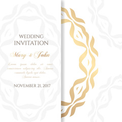 Wedding invitation templates. Cover design with ornaments and white background. Vector decorative card with copy space.