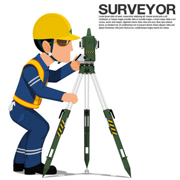 A surveyor is operating the theodolite on transparent background