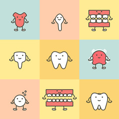 set of dental care, element for tooth concept ( tooth type, tongue, denture, dental braces ) - teeth cartoon vector flat style
