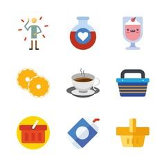 drink vector icons set. hottea, milkshake, soda and illness in this set