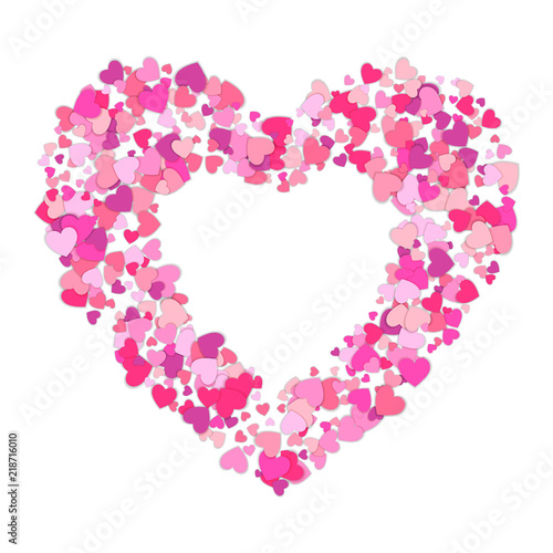 Small pink hearts creates one big. Frame of colorful hearts. Heart ...