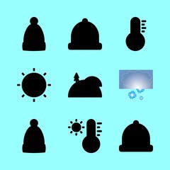 weather vector icons set. snow, thermometer, winter hat and sun in this set