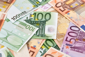 A lot of euro banknotes. Background