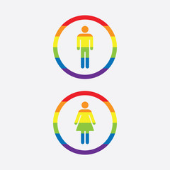 Rainbow Man and Woman Vector Signs