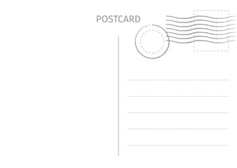 Postcard. Postal card illustration for design. Travel card design. Postcard isolated on white background. Vector illustration.