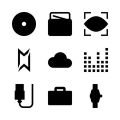 technology vector icons set. usb, eye scan, sound bars and wheel in this set