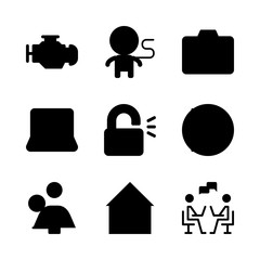 technology icons set. smile, man, shot and open graphic works