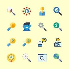 16 seo icons set