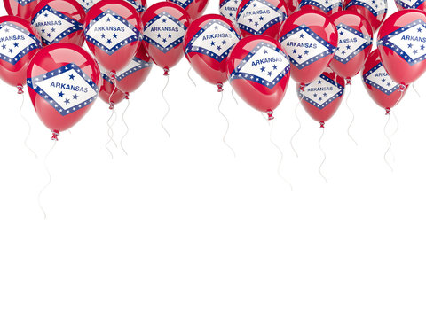 Balloons frame with flag of arkansas. United states local flags