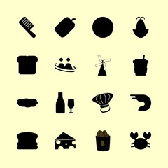food vector icons set. cheese, hamburger, coffee cup and wine in this set