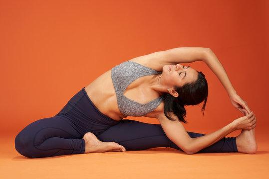 Stretching yoga asana pose