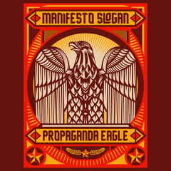 Eagle Propaganda Posters Elements Background Set