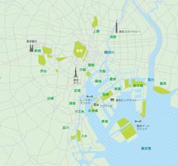 東京ベイエリア(東京湾周辺) 道路マップ / 地名・観光名所付き