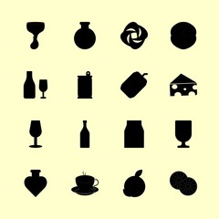 drink vector icons set. wine, potion, hottea and orange in this set