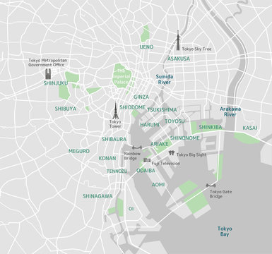 Tokyo bay area road map ( with place names, sightseeing spots)