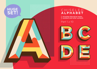 Vector Mosaic Typeset. Textured Geometric Type. Trendy Retro Typography for DJ Music Poster, Club Flyer, Fest Invitation, Game Design. Old Vintage Alphabet. Colorful Hipster Background. Funky Font..