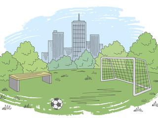 Street sport football soccer graphic color city landscape sketch illustration vector
