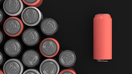 Big black, white and red soda cans on black background
