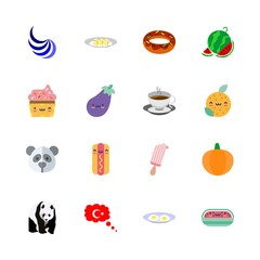 food icons set. cheese, treat, black and one graphic works