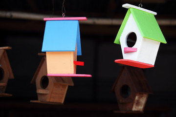 hanging colorful wooden bird house