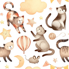Watercolor illustration of cute cat. Seamless pattern