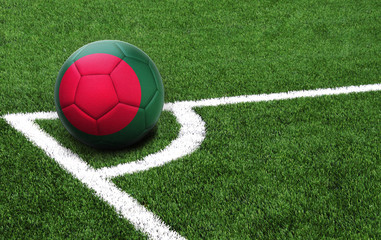 soccer ball on a green field, flag of Bangladesh