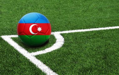 soccer ball on a green field, flag of Azerbaijan