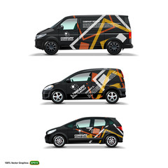 Obraz Mocup set with advertisement on Black Car, Cargo Van, and delivery Van. - fototapety do salonu