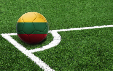 soccer ball on a green field, flag of Lithuania