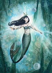 Hand drawn watercolor illustration. Mermaid Under The Sea.