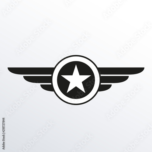 Wings With Star Icon Winged Logo Template Air Force Badge Army Military