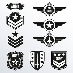 Army and military badge set. Shields with army emblem. Vector illustration.