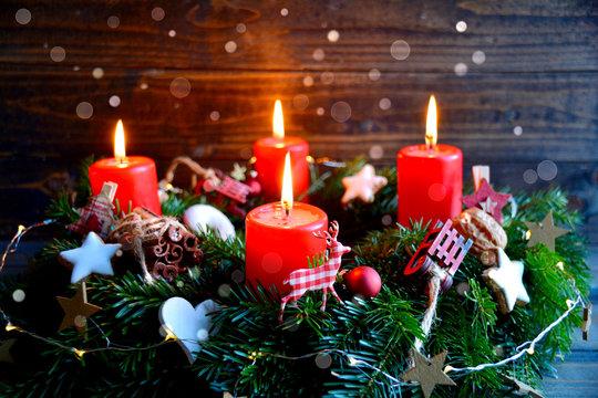 Adventskranz - Weihnachtsstimmung - vierter Advent