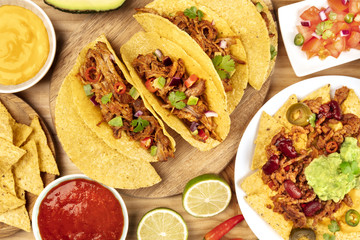 Overhead photo of assortment of Mexican dishes
