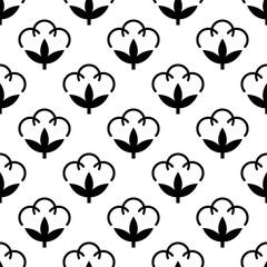 Cotton Flower Icon Seamless Pattern, Cotton Ball, Cotton Fiber Seamless Pattern