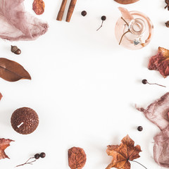 Autumn composition. Frame made of autumn things on white background. Flat lay, top view, square, copy space