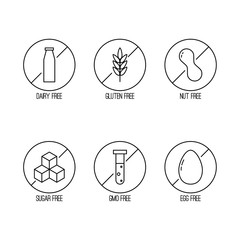 Vector set of food diet labels for non GMO foods, sugar and allergens. Icons in linear style.