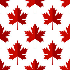 Maple Leaf Icon Seamless Pattern