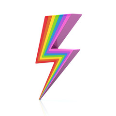 Rainbow lightning icon 3d illustration on white background