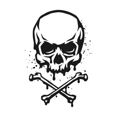Skull and crossbones in grunge style.