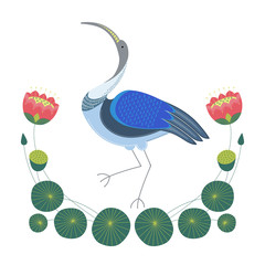 Изолированное  декоративное изображение стоящей птицы ибис, цветов, стеблей и листьев лотоса.
