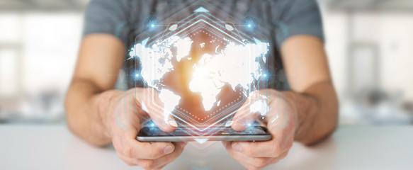 Businessman using digital world map interface 3D rendering